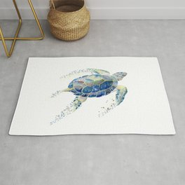 Lone Sea Turtle Watercolor  Rug