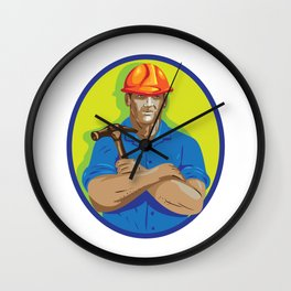 Construction Worker Foreman Arms Crossed WPA Wall Clock