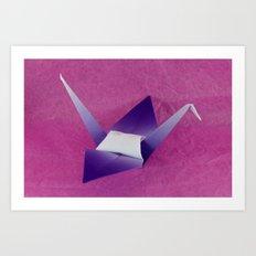 Purple Origami Crane Art Print