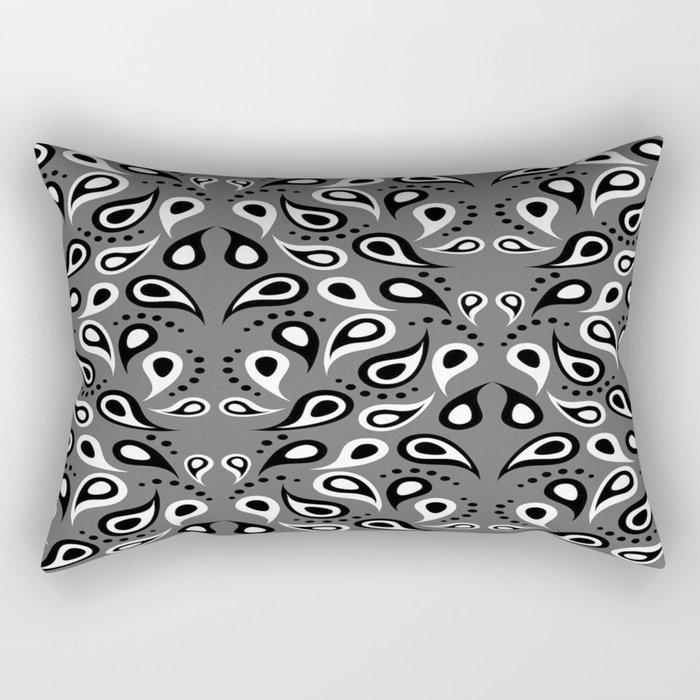 Black White And Grey Paisley Rectangular Pillow