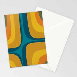 Retro Groove Mustard Teal - Minimalist Mid Century Abstract Pattern Stationery Cards