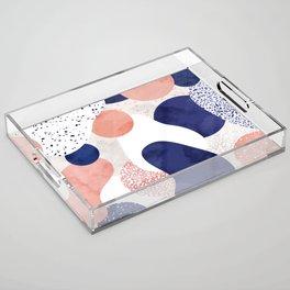 Terrazzo galaxy pink blue white Acrylic Tray