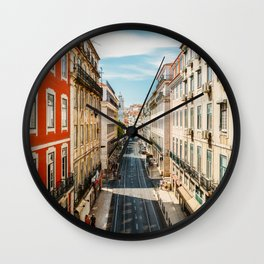 Beautiful Streets Downtown Lisbon City, Wall Art Print, Modern Architecture Art, Poster Decor Wall Clock