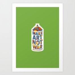 Make Art Not War (African print green) Art Print