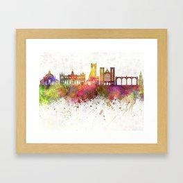 Harrogate skyline watercolor background Framed Art Print