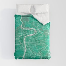 Prague City Map of Czech Republic - Watercolor Comforters