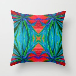 WESTERN MODERN ART OF BLUE AGAVES RED-TEAL Throw Pillow
