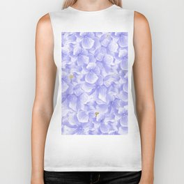 Elegant lavender white faux gold watercolor hydrangea flowers Biker Tank