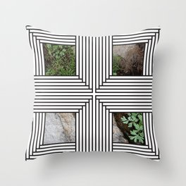 Black and White Lines with Green #2 Throw Pillow