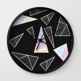 Abstract Artwork Pattern of Color Triangles on a Black Background Style #04 Wall Clock
