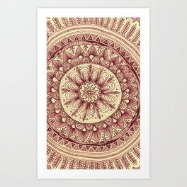 mandala: maroon Art Print