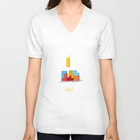 tetris V-neck T-shirts featuring Tetris love by LuvPrint