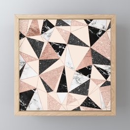 Modern black white marble rose gold glitter foil geometric abstract triangles pattern Framed Mini Art Print