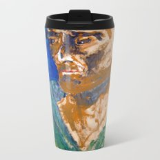 Man with blue background Metal Travel Mug