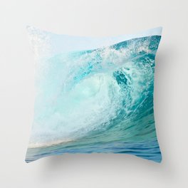 Pacific big surfing wave breaking Throw Pillow