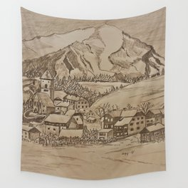 Little village in the Mountains of Austria Wall Tapestry