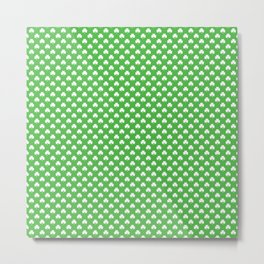 White Heart-Shaped Clover on Green St. Patrick's Day Metal Print