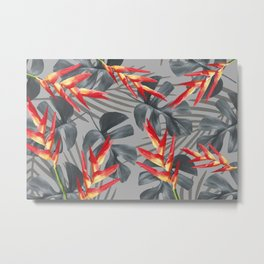 Monstera Heliconia Palm Leaves Metal Print