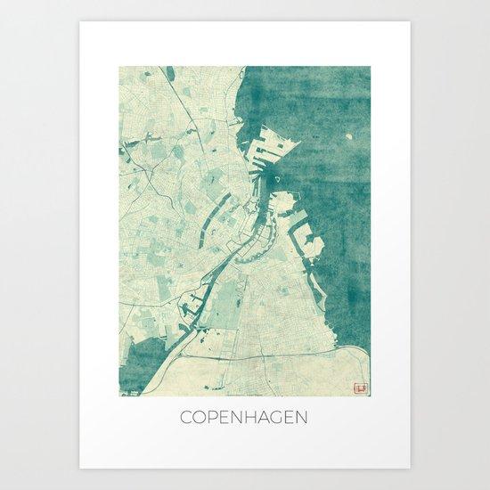 Copenhagen Map Blue Vintage Art Print