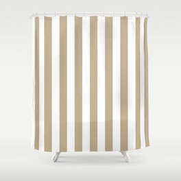 Narrow Vertical Stripes - White and Khaki Brown Shower Curtain