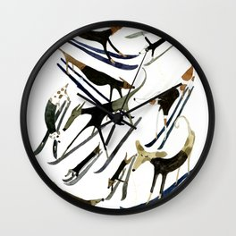 Beatnik Dogs Skiing Wall Clock