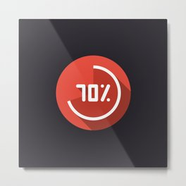 """Print illustration """"percentage - 70%"""" with long shadow in new modern flat design Metal Print"""