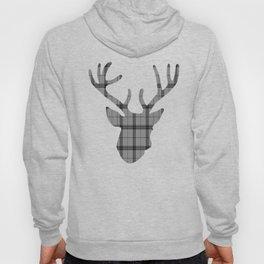 Plaid Deer Head: Grey Hoody