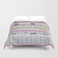 knitting Duvet Covers featuring Winter Knitting by Ornaart