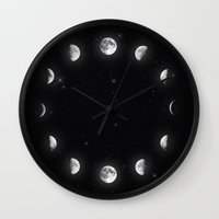 moon phases Wall Clocks featuring Moon Phases by KittyBitty