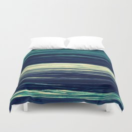 Blue Teal Texture Stripes Duvet Cover