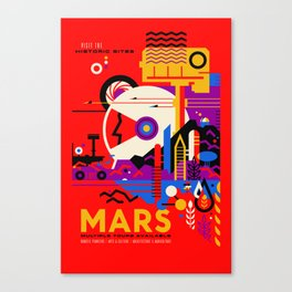 NASA Mars The Red Planet Retro Poster Futuristic Best Quality Canvas Print