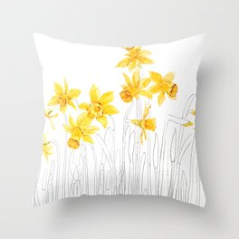 yellow daffodils field watercolor and pencil Throw Pillow