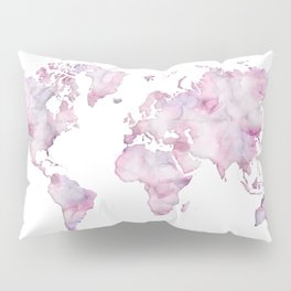 Lavander and pink watercolor world map Pillow Sham