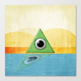 Green Triangle Monster Canvas Print