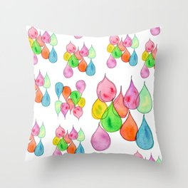 Tears Watercolor Painting positive illustration colorful nursery kids room rain drops pattern Throw Pillow