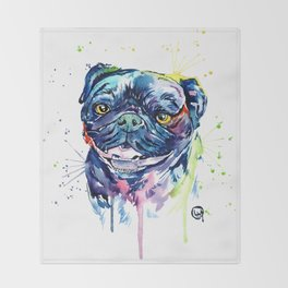 Pug Watercolor Pet Portrait Painting Throw Blanket