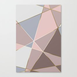 Fragments Rose Bleu Gold Canvas Print