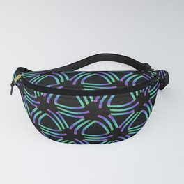 Colorful triangular pattern in green, pink and violet on a black background  Fanny Pack