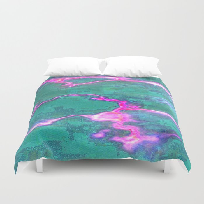 Marbled Green with Hot Pink Duvet Cover