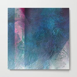 Atmosphere // blue magenta abstract textural painting, modern Metal Print