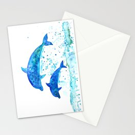 Dolphins, Blue dolphins, watercolor Stationery Cards