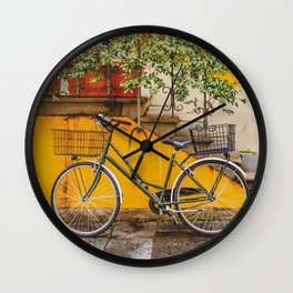 Bicycle Parked at Wall, Lucca, Italy Wall Clock