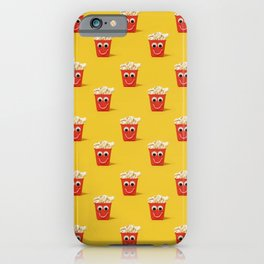 Happy popcorn smiling pattern on yellow iPhone Case