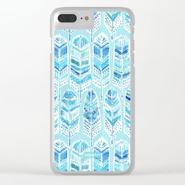 SEABIRD Blue Boho Feathers Clear iPhone Case