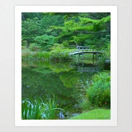 Japanese Bridge in Forest Art Print