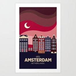 Vintage Travel: Amsterdam Art Print