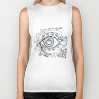 third eye Biker Tanks featuring third eye by yogivette