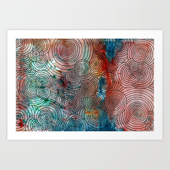 Circles, Water, & Color Drawing Meditation Art Print