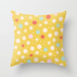 Vintage Christmas Wrapping Paper Pattern Design Mustard Stars & Dots Throw Pillow