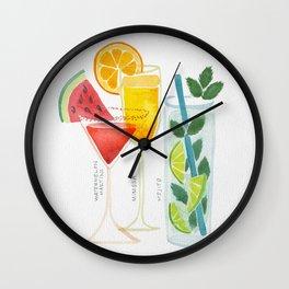 Summer Cocktail Trio Wall Clock